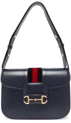 Gucci 1955 Horsebit Saddle Leather Shoulder Bag - Blue Multi