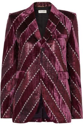 Saint Laurent Embroidered Velvet And Silk-blend Lame Blazer - Purple