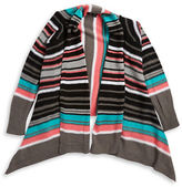 Planet Gold Girls 7-16 Striped Open Front Knit Cardigan