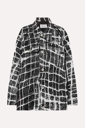 Maison Margiela Oversized Printed Denim Jacket - Black