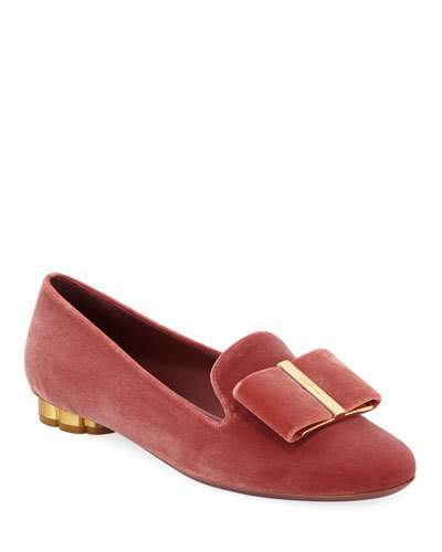 Salvatore Ferragamo Sarno Velvet Loafers with Vara Bow