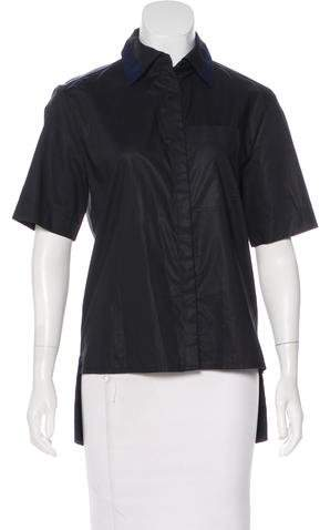 Paco Rabanne High-Low Button-Up Top