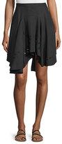 Halston Flounce Asymmetric-Hem Skirt, Black
