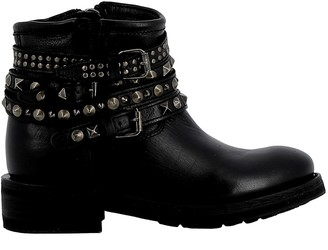 Ash Black Leather Ankle Boots