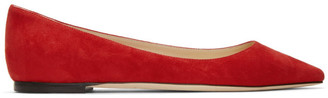 Jimmy Choo Red Suede Romy Flats