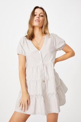 Cotton On Woven Tawni Tiered Babydol Mini Dess