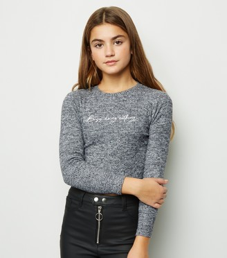 New Look Girls Busy Doing Nothing Slogan Jumper