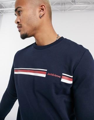 Jack and Jones Originals chest stripe print crew neck sweat in navy