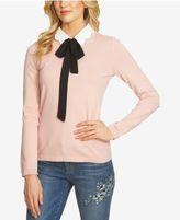 CeCe Cotton Bow-Tie Sweater