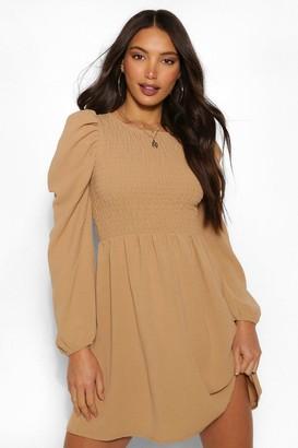 boohoo Tall Woven Shirred Puff Sleeve Dress