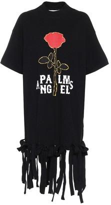 Palm Angels Logo fringed cotton minidress