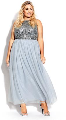 City Chic Shine Bright Maxi Dress - aquamarine