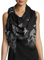 Alexander McQueen Bleached Butterfly & Skulls Modal/Silk Scarf, Black/Gray