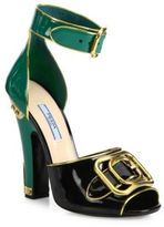 Prada Colorblock Patent Leather D'Orsay Ankle-Strap Sandals