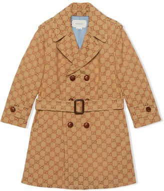Gucci Kids Monogram Print Double Breasted Coat