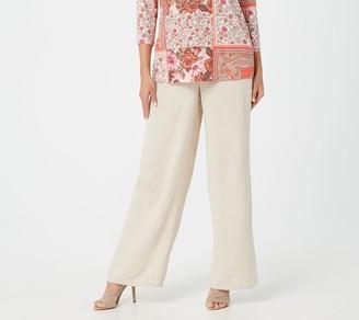 Susan Graver Petite Washed Linen Pull-On Wide-Leg Pants