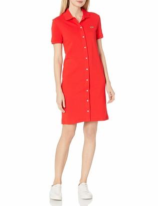 Lacoste Women's Short Sleeve Buttondown Pique Polo Dress