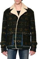 Valentino Tribal Shearling-Lined Jacket, Green Multi