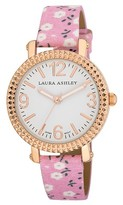 Laura Ashley Ladies Pink Floral Band Fluted Bezel Watch