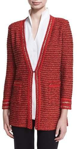 Misook Plus Size Long Boucle Chain-Detail Jacket