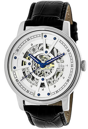 Reign Belfour Automatic Silver Case, Genuine Black Leather Watch 44mm