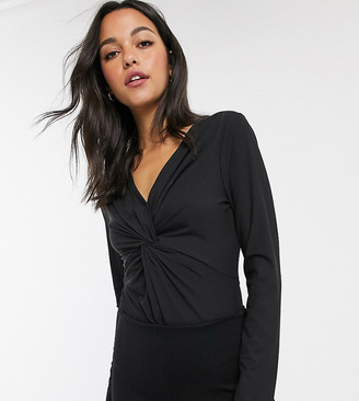 Brave Soul Tall bodysuit with knot front-Black