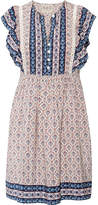 Sea Ruffled Crochet-trimmed Printed Silk Mini Dress - Blue