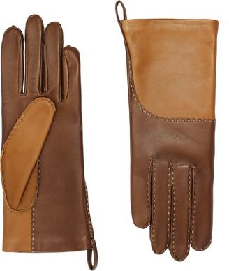 Agnelle Yaelle Saddle Stitch Lambskin Leather Gloves