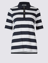 Classic Pure Cotton Striped Polo T-Shirt