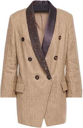 Brunello Cucinelli Double-breasted Satin-trimmed Embellished Herringbone Cotton-blend Blazer