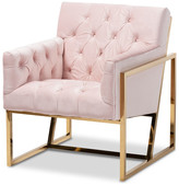 Baxton Studio Raschelle Velvet Upholstered Gold Finish Lounge Chair, Pink