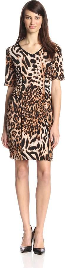MSK Women's V Neck Animal Printed 3/4 Sleeve Dress