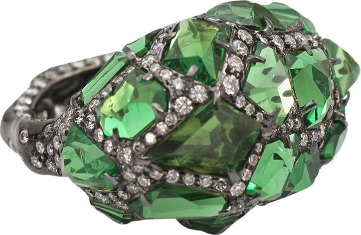 Arunashi Tsavorite Rock Ring with Diamonds