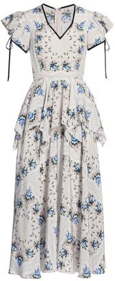Rodarte Floral-Print Silk Peplum Dress