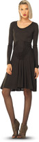 Max Studio Fine Wool Jersey Long Sleeve Dress With Knotted Details