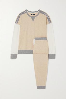 DKNY Jacquard-trimmed Stretch-cotton Pajama Set - Neutral