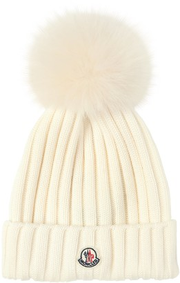 Moncler Wool Knit Hat W/ Fur Pompom