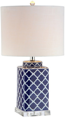 """Jonathan Y Designs Clarke 23"""" Chinoiserie Table Lamp, Blue and White"""