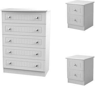 Dakota 3 PieceReady Assembled Package - 5 Drawer Chest and 2 Bedside Chests