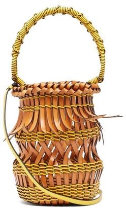 Loewe Fringes Open-work Leather Bucket Bag - Tan Multi