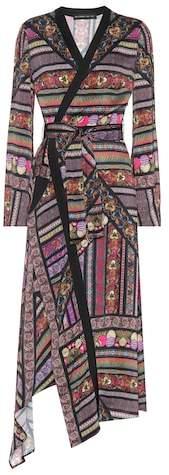 Etro Printed satin wrap dress