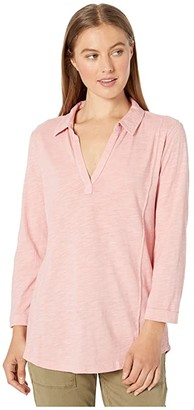 Mod-o-doc Slub Jersey 3/4 Sleeve Seamed Collared Tee (Blush) Women's Clothing