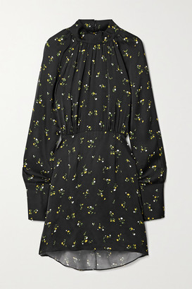Les Rêveries Cape-effect Floral-print Satin Mini Dress - Black