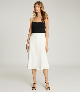 Reiss Isabella - Colour Block Midi Dress in Black/white