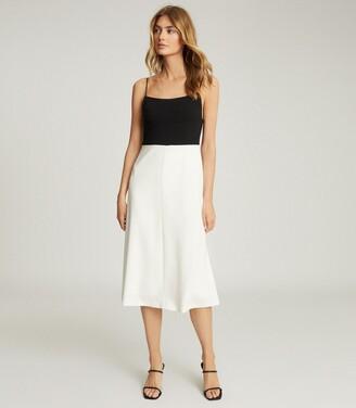 Reiss Isabella - Colour Block Midi Dress in Black/White