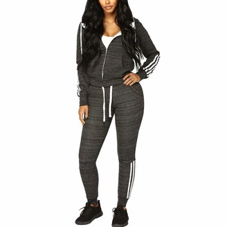 VERYCO Women Two Piece Jogger Suit Striped Zip Up Hoodie Top Trousers Pants Bottom Tracksuit Set (Grey UK 6-8 / Tag S)