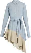 Palmer Harding PALMER/HARDING Asymmetric corduroy-hem fluted cotton dress