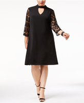 Jessica Howard Plus Size Lace-Sleeve Choker Dress