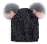 Eugenia Kim Women's Mimi Beanie With Genuine Fox Fur Pompoms - Black