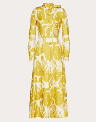 Valentino Printed Twill Dress Women Sunflower Silk 100% 36